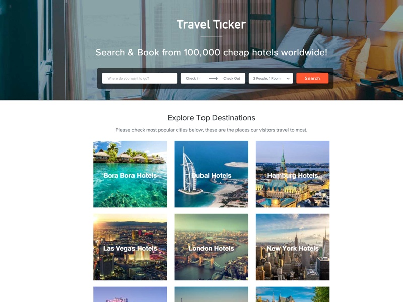 Find and book cheap hotels with Travel Ticker from over 100,000 hotels worldwide. Travel Ticker searches hundreds of top travel sites and finds only the best prices for you.