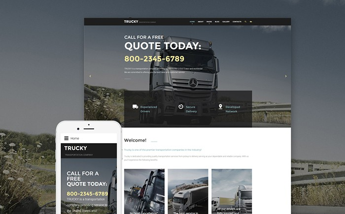 Trucky: Safe Transportation Service Joomla Template