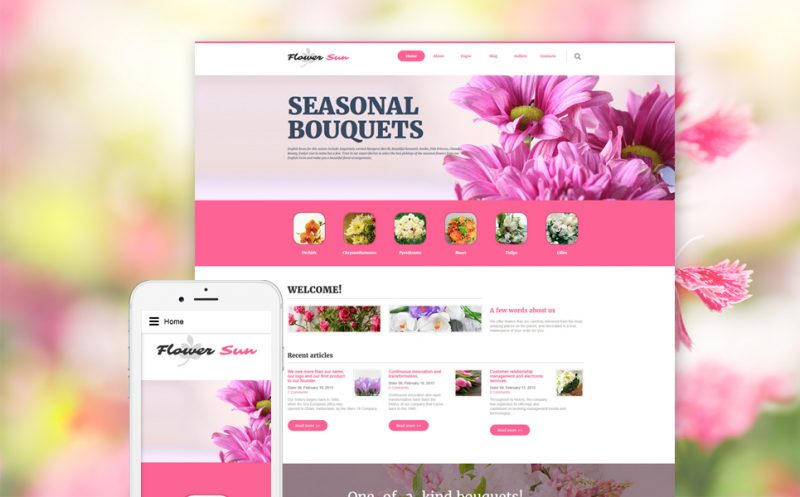 Flower Sun: Fresh Bouquets Joomla Template
