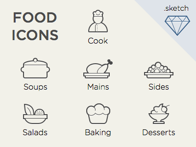 Food Icons For Sketch App
