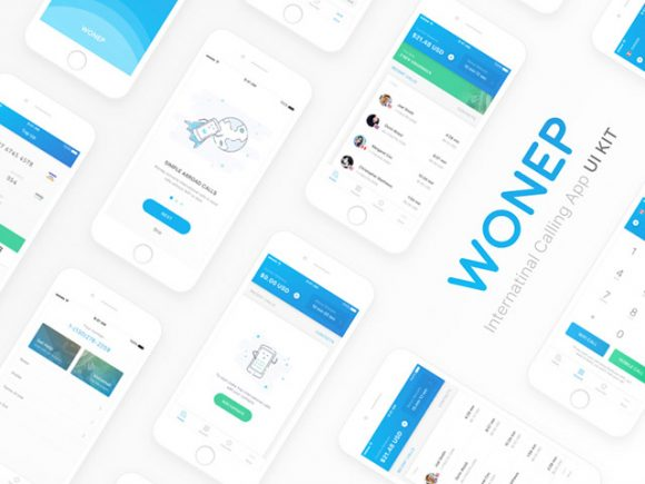 Free Sketch UI kit for calling apps