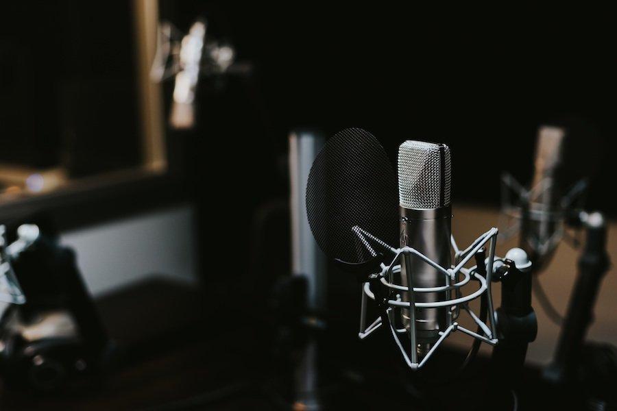 Microphone inside a recording studio.