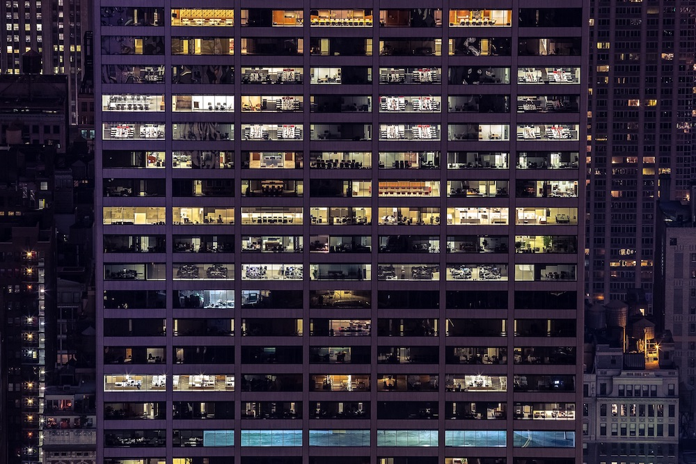 NYC office building at night