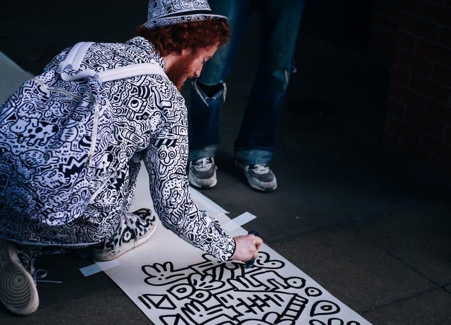 graffiti artist showing off his skills
