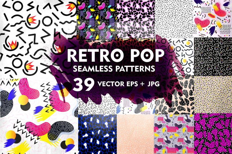 Retro Pop Pattern Set - Patterns Like Save Retro Pop Pattern Set - Patterns - 1 Retro Pop Pattern Set - Patterns - 2 Retro Pop Pattern Set - Patterns - 3 Set of hand 39 Retro Pop seamless patterns for your use.