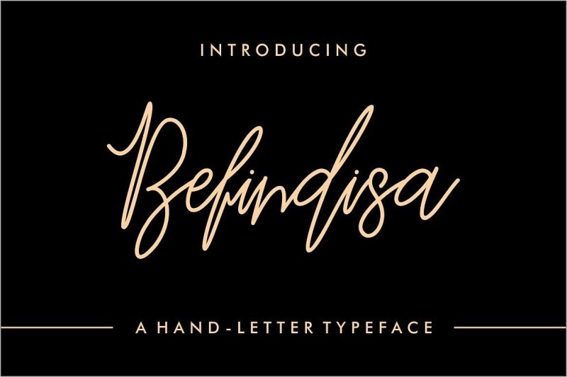 Introducing Befindisa is hand-letter script font, every single letters have been carefully crafted to make your text looks beautiful.