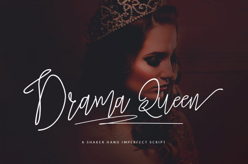 Drama Queen Script A clean & classy signature-style font set, perfect for creating authentic hand-lettered text quickly & easily.