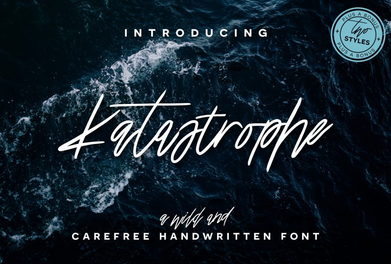 Katastrophe is a wild & carefree script font with a playful baseline and a full set of bonus alternate characters! Perfect for prints, invitations, greeting cards, typography quotes, branding, and more!