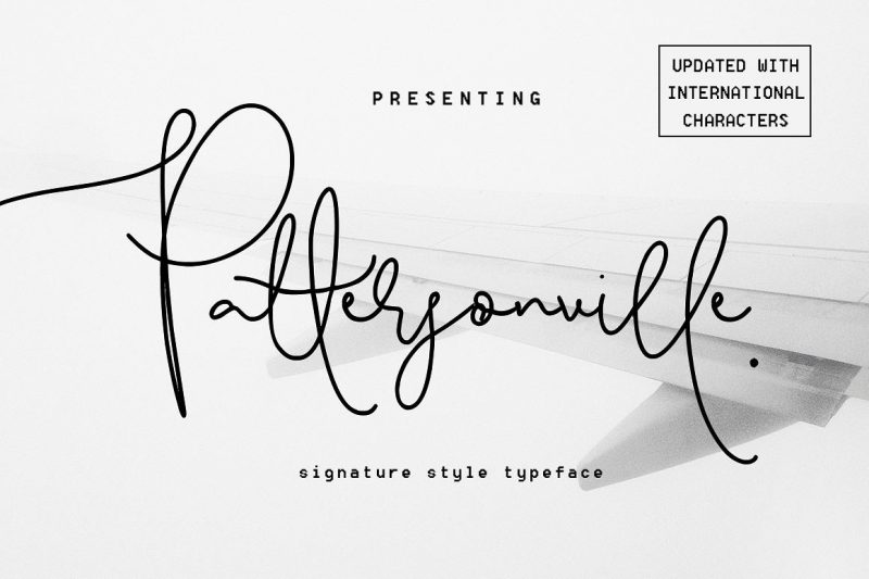 UPDATE - Now includes International Characters, more unique ligatures for double letters, and improved Uppercase G,J, L, Q, Introducing the brand new Pattersonville Script font! - Intro price of $12 for a limited time only so be quick.