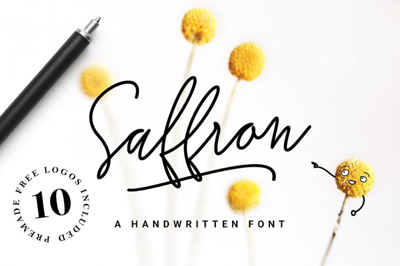 Saffron is a trendy and unique handwritten font. Its characteristic flow and signature style makes it perfect to use for logos, signatures, quotes, badges, labels, packaging design, blog headlines or simply use it in your next design project.