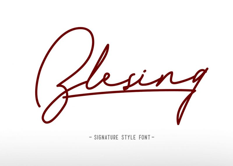 Blesing signature style - Script Like Save Blesing signature style - Script - 1 Blesing signature style - Script - 2 Blesing signature style - Script - 3 Blesing signature style - Script - 4 Blesing signature style - Script - 5 Blesing signature style - Script - 6 Introduce Blesing signature font from Qiwbrother studio.