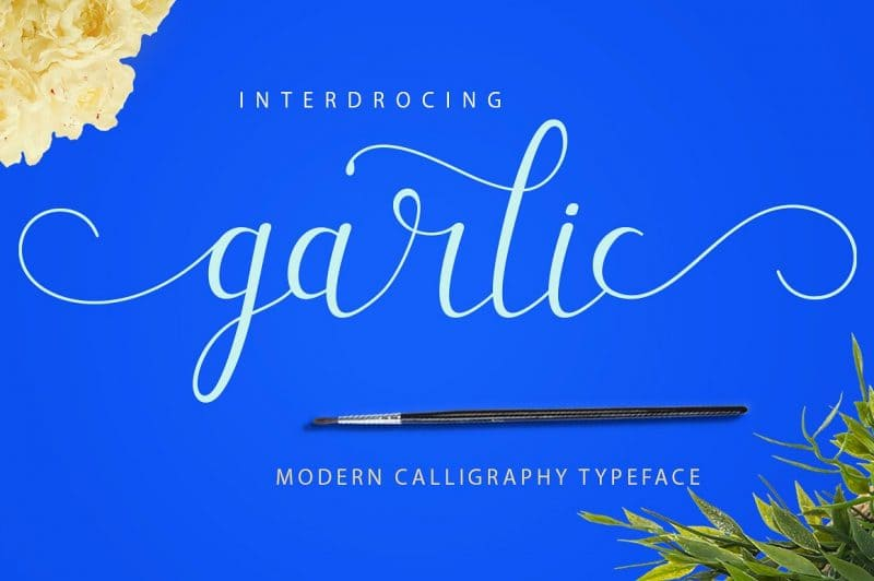 Garlic is a brush script that is beautiful and unique, it is a model of modern calligraphy typefaces, in combination with a calligraphy brush writing style.