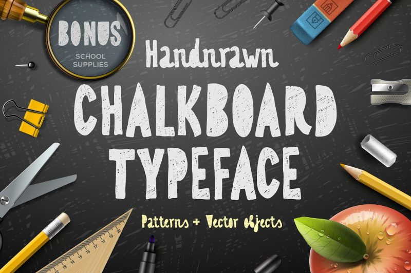 Chalkboard typeface is great for logo, cards, signs, apparel, stationery, magazines and quotes.