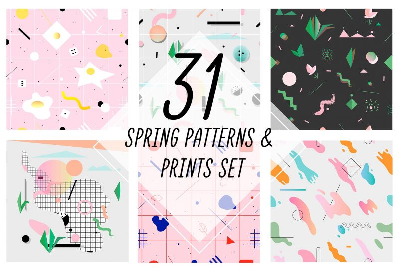 Fresh & soft patterns and prints. 31 peaces of collaboration between geometry and memphis design style.