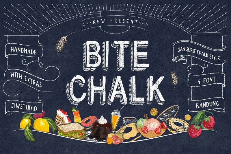BiteChalk Still with a chalk concepts, This is good for projects like a menuboards it's specially designed cafe or restaurant ,background photoboots wedding, t-shirt, posters,etc and a touch of vector pack theme dessert, that allows you to mix and match pairs of ornaments to fit your design .