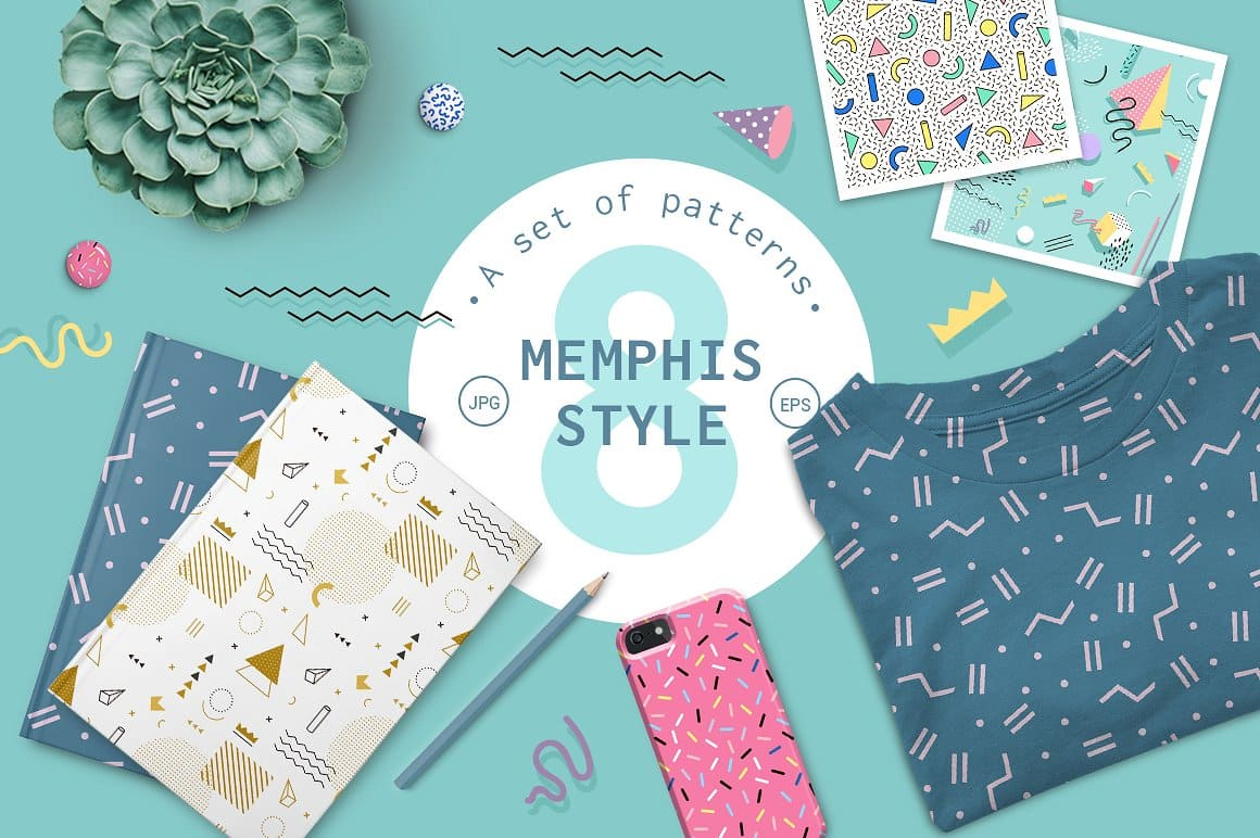 Geometric pattern memphis style - Patterns Like Save Geometric pattern memphis style - Patterns - 1 Geometric pattern memphis style - Patterns - 2 Set of 8 memphis patterns in geometric elements. Pattern in hipster, memphis style.