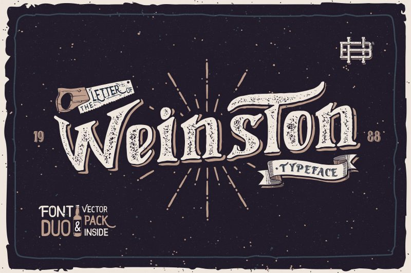 Weinston Typeface presented from Heybing Supply Co, Dual-purpose font, with authentic hand made characters and an irregular baseline, a casual, arty and inky, also come with vector element and badges as free extras so it will capable to make a lot of design styles.