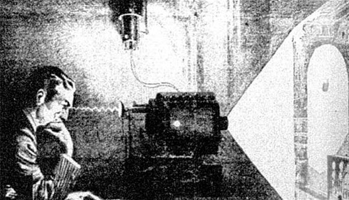 Newspaper representation of the thought camera Tesla described at his 1933 birthday party
