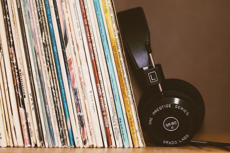 Old Vinyls neatly stacked on a shelf