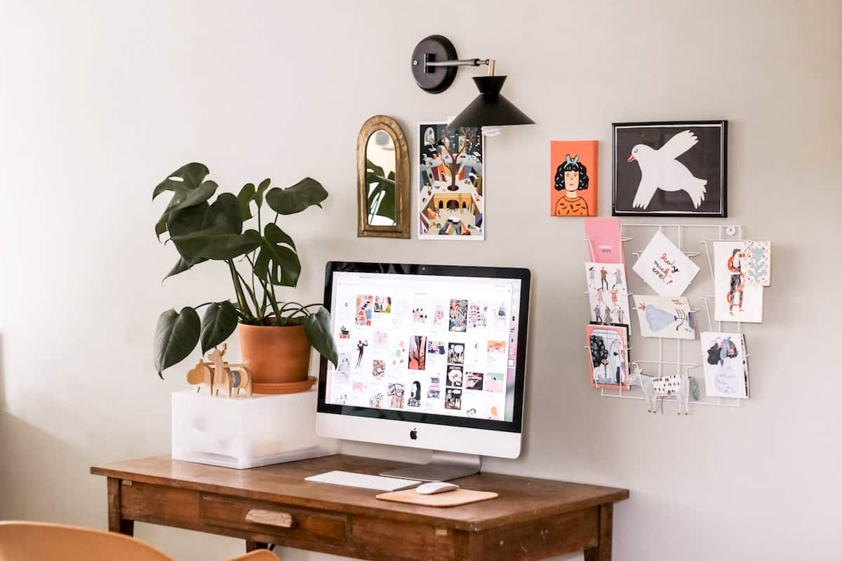 iMac Desktop Workspace inside a clean home