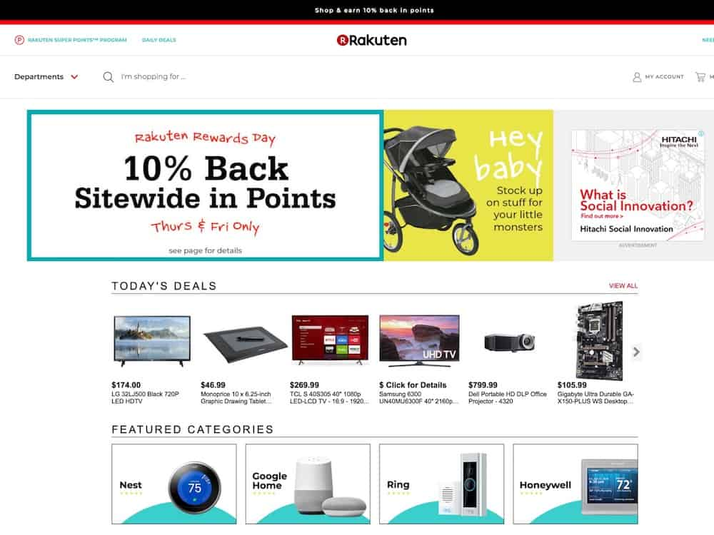"Find, shop, and buy computers, laptops, books, dvd, videos, games, video games, music, sporting goods, software, electronics, digital cameras, camcorders, toys, luggage, and dvd players at Rakuten.com"" /> <meta name=""keywords"" content=""Rakuten.com, buy, buy online, online store, shop online, shop, shopping online, Computer, Computers, Computer Laptop, Laptop, Computer Parts, PC Components, Digital Camera, Desktop, Computers on sale, Computer CD DVD Burner, Software, Camera, digital Motherboard, Buy Computers, PDA, Servers, Hard Drive, LCD Monitors, Plasma Displays, consumer electronics, stereos, pdas, palm, organizer, mp3 players, televisions, tvs, camcorders, vhs, dvd, digital tv, hdtv, digital video recorders, vcrs, projection tvs, home theater, xbox, music, cd, compact disc, movies, video, games, video games, 35mm cameras, home audio, cd players, cassette decks, digital recording, home speakers, receivers, tuners, dvd, ipod, memory stick, compact flash, muvo2, tivo, mp3, book, music, personal computers, PC, desktops, notebooks, monitors, printers, scanners, software, hardware, portable electronics, 2-way radios, toys, lego, Hasbro, mattel, bags, luggage, cheap luggage, sports, sporting goods, sporting good"