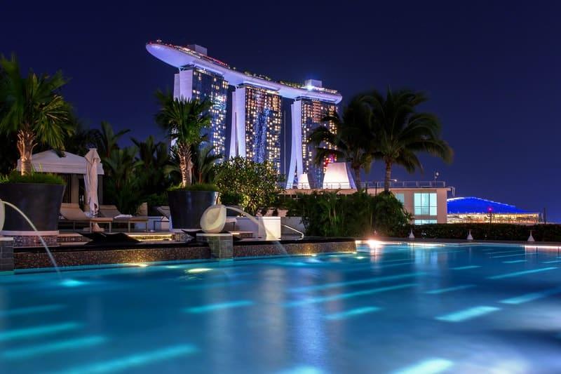 Beautiful pool at night in singapore