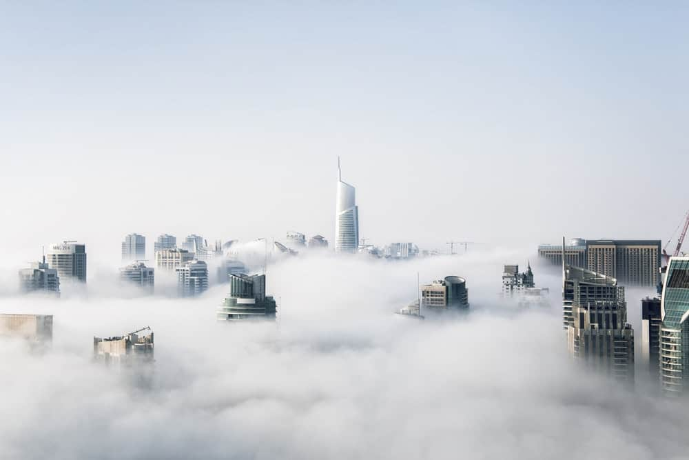 architecture buildings in clouds