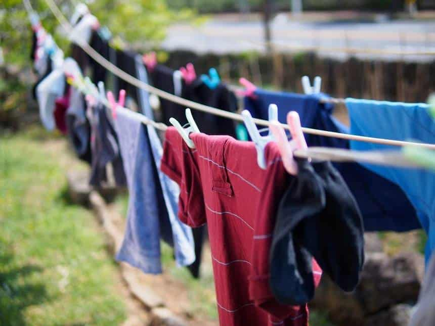 clothes drying on a hot sunny day