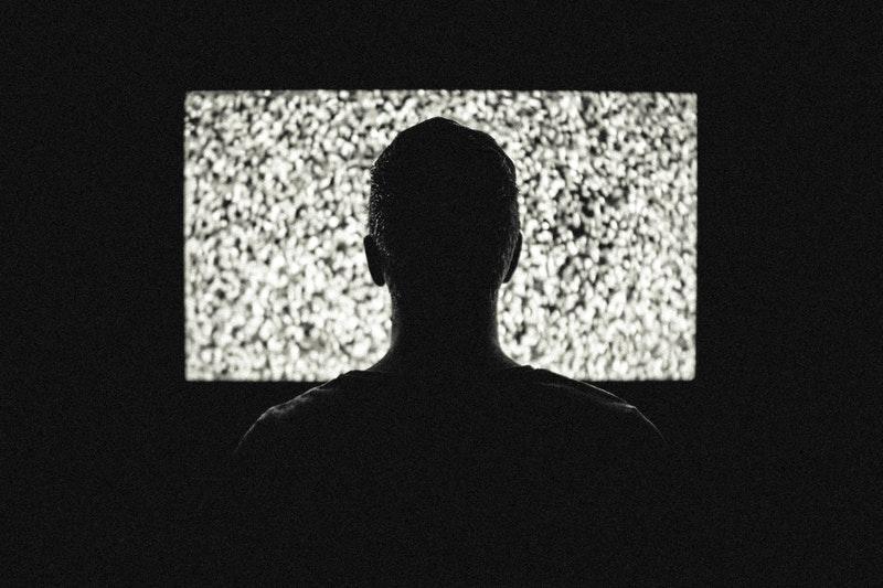 Static Television at Night