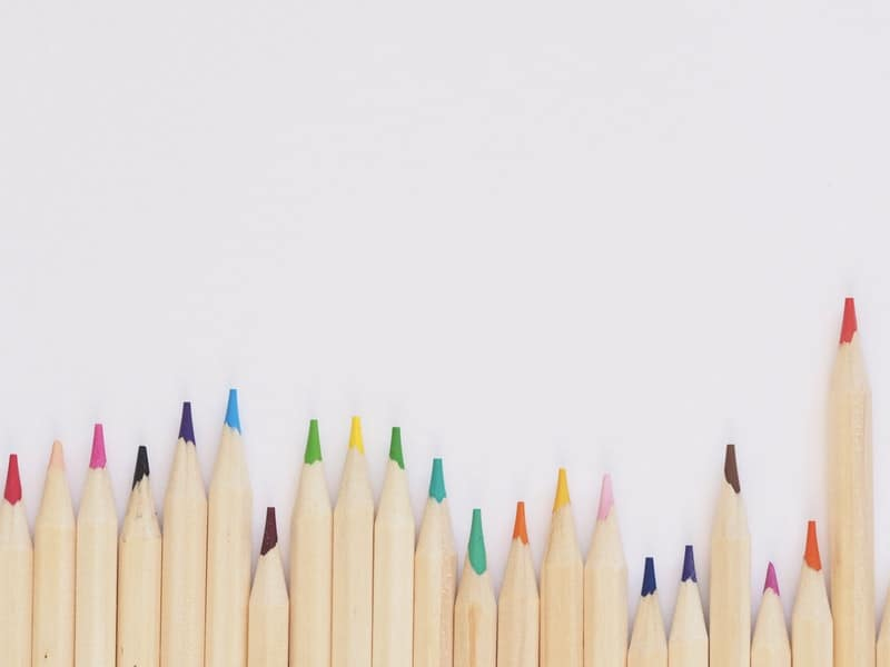close of colored pencils