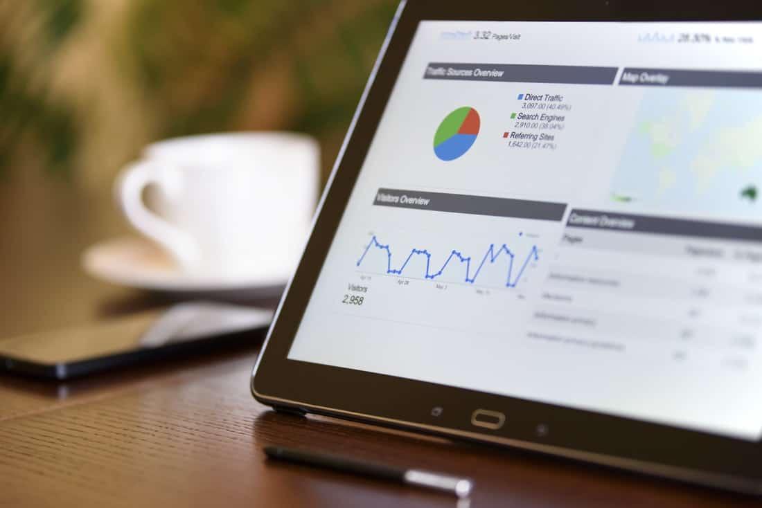 google analytics dashboard on an ipad