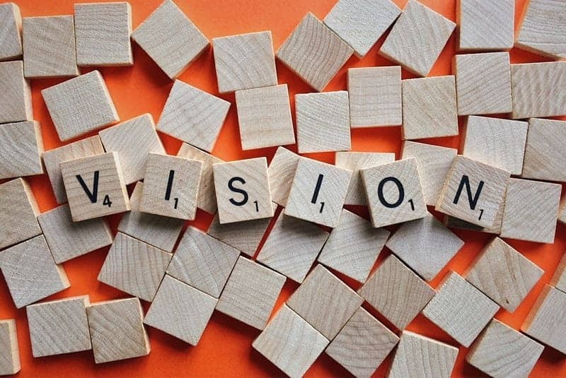 vision spelled out with wooden scrabble pieces