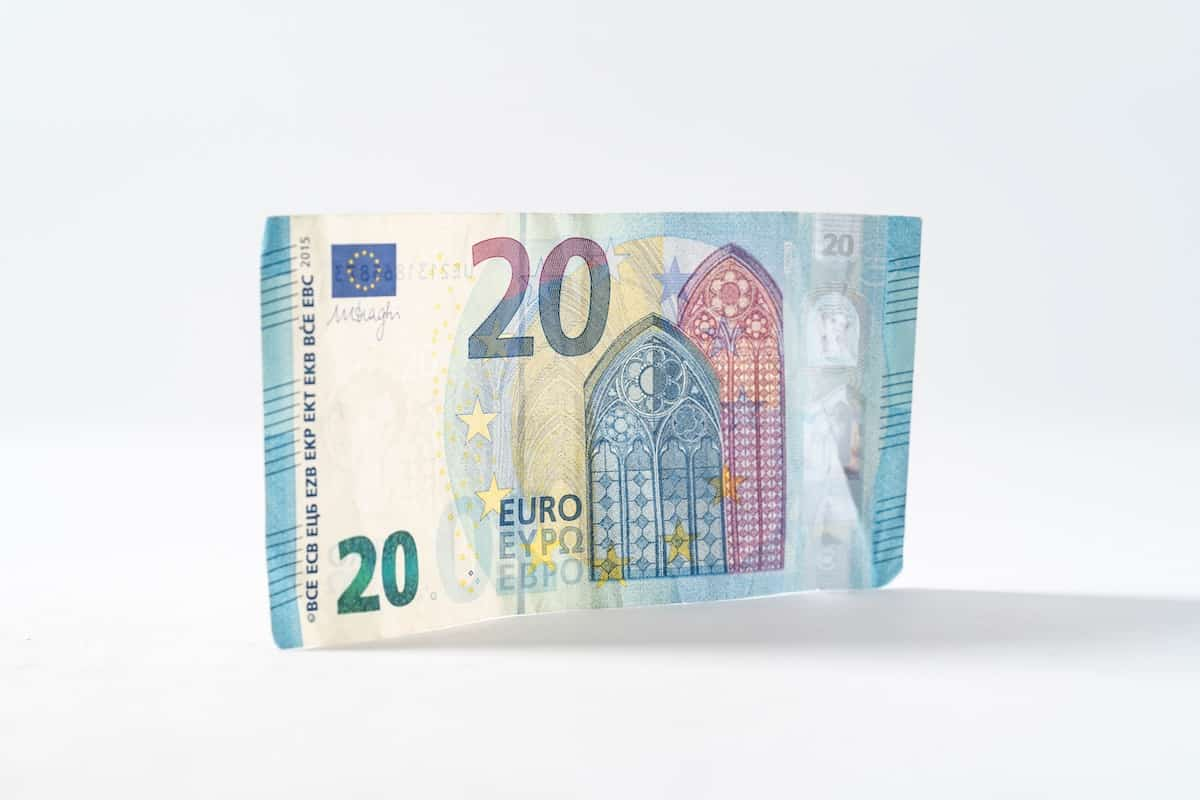20 Euro Bill against a white background