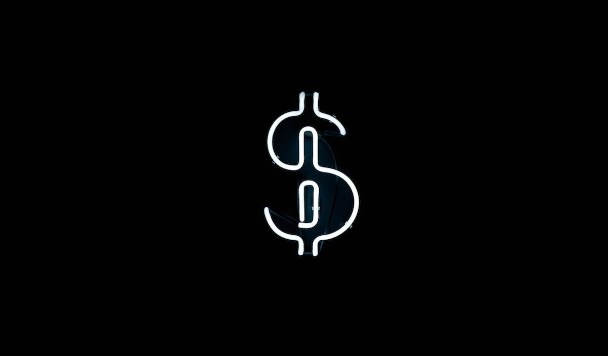 Dollar Icon Symbol in Neon Light