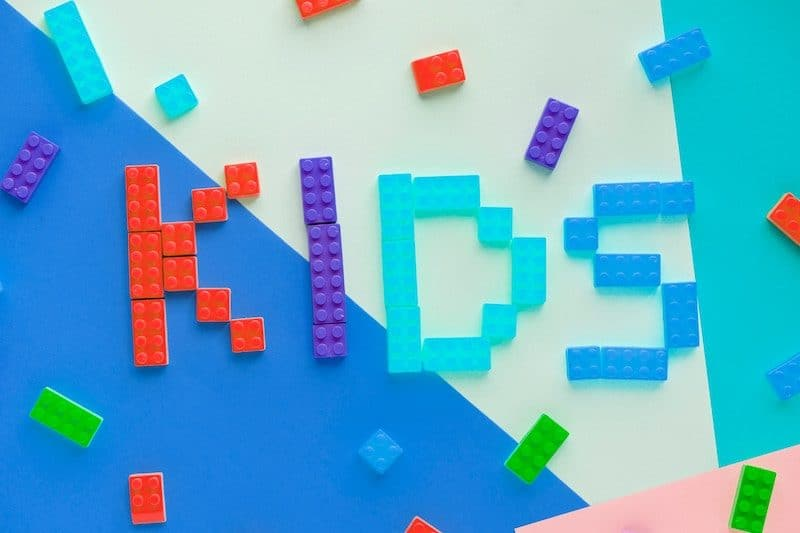 Kids spelled out with legos