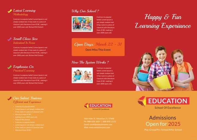 Kindergarten Tri-Fold Brochure Design Template