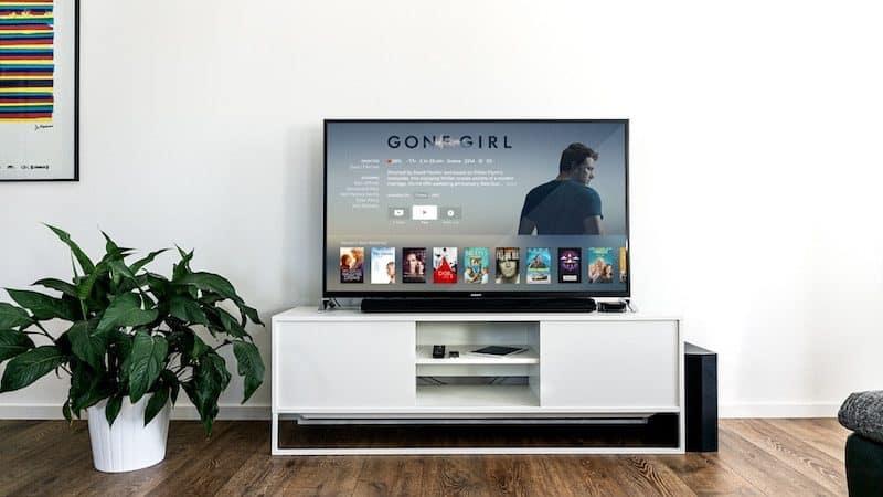 Smart tv inside a modern living room