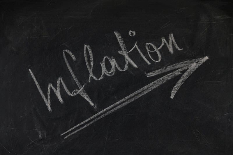 inflation written on a chalk board