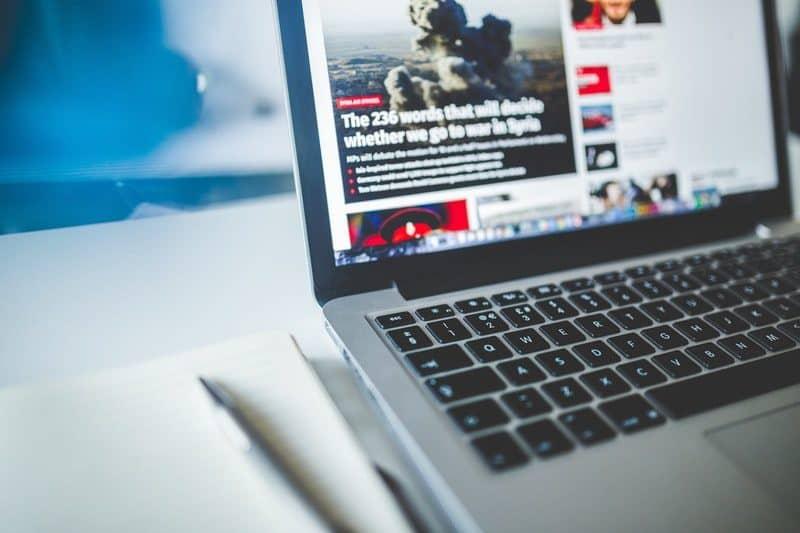 web magazine on a computer screen