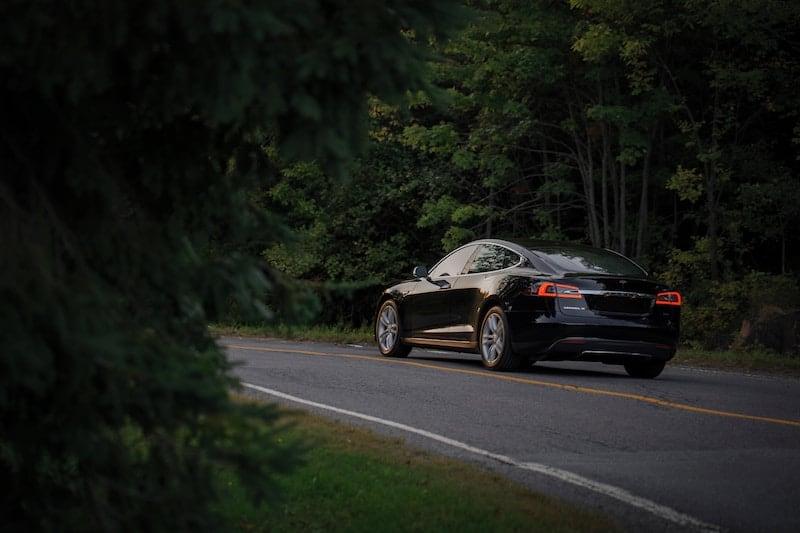 Autonomous tesla car driving