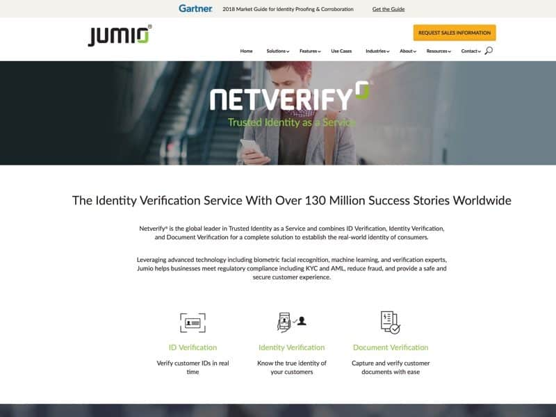 Jumio's identity verification service, Netverify, combines ID, Identity, and Document Verification to establish the real-world identity of consumers.