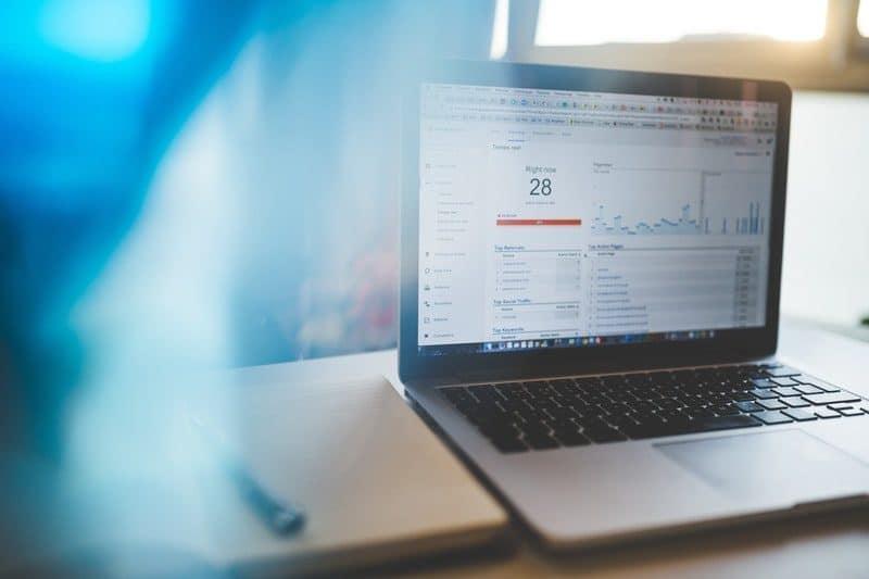 google analytics on a laptop dashboard