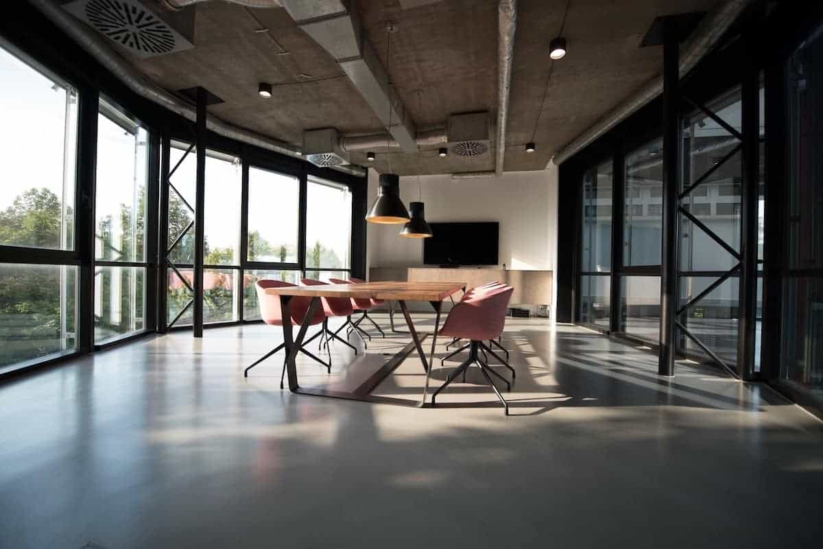 Industrial Office Interior with Morning Sunshine Coming in