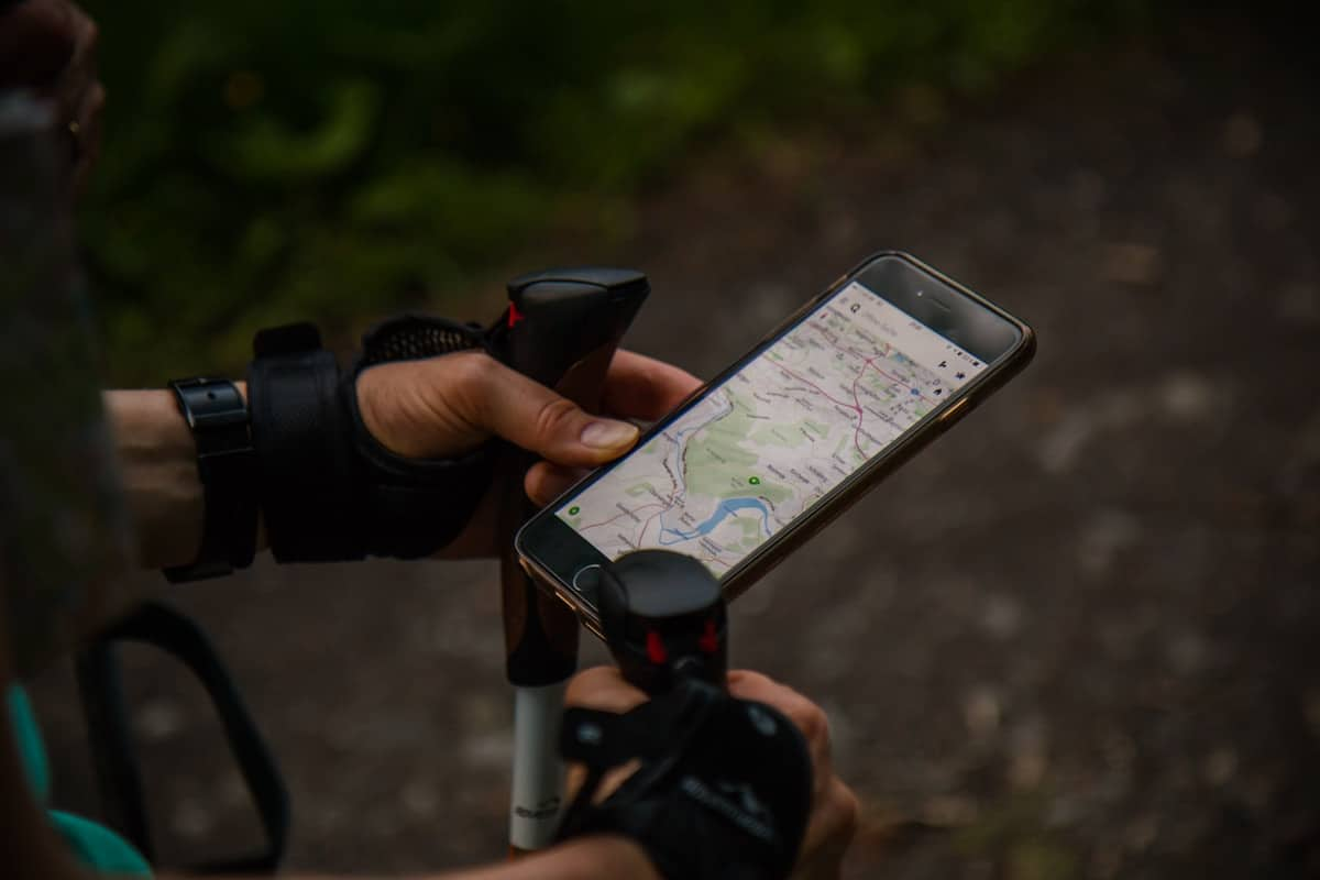 Man Using Garmin maps on His Smartphone
