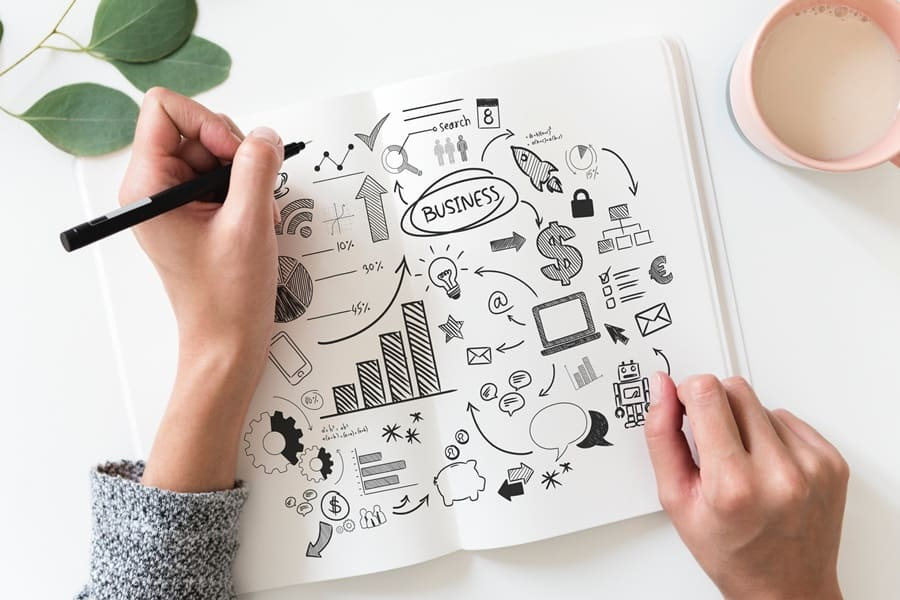 Woman building a business plan in her notebook