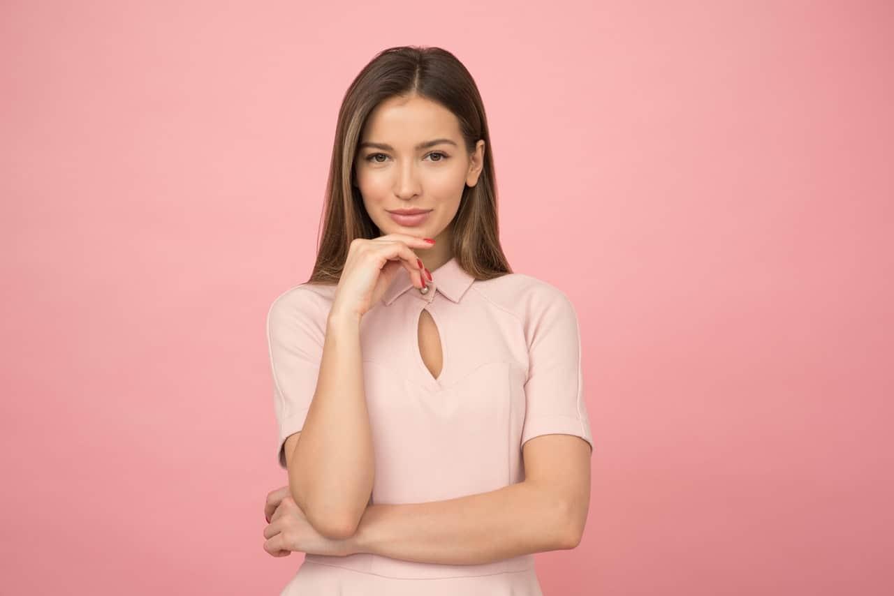 Beautiful woman wearing a pink dress
