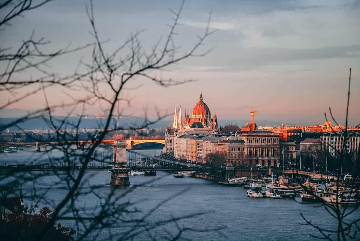 Budapest city during sunset