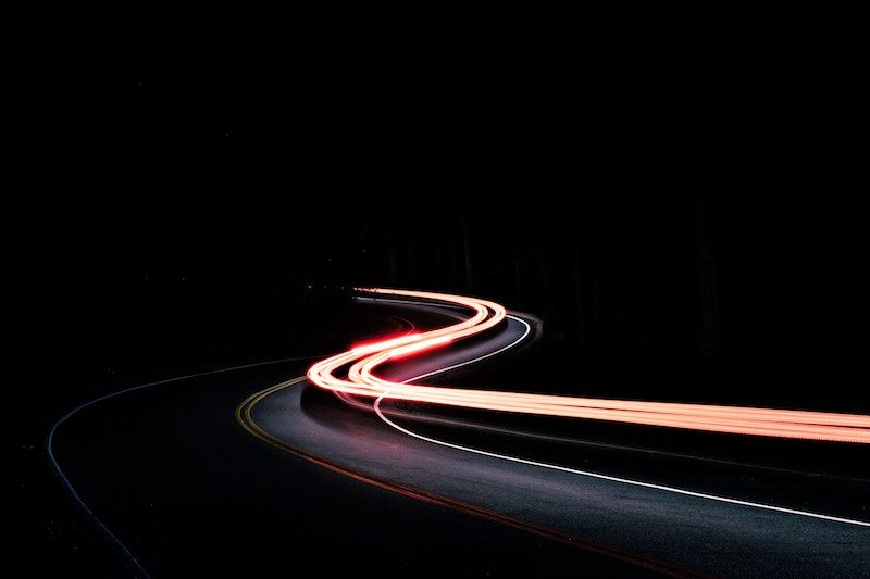 car light trails in the mountains