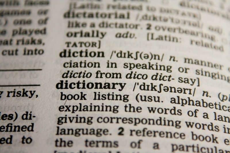 dictionary book close up