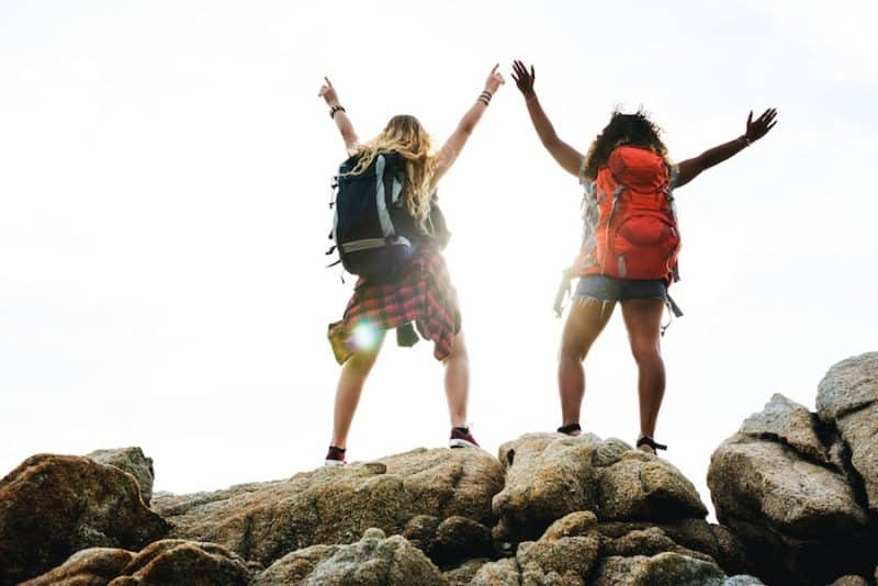 Two Girls Backpacking Together